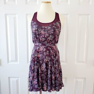 UO Floral Open Back Sheer Top Sleeveless Dress